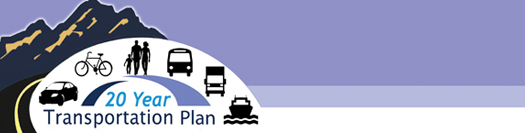 20 Year Transportation Plan Banner With Transportation Graphics and A Mountain Background