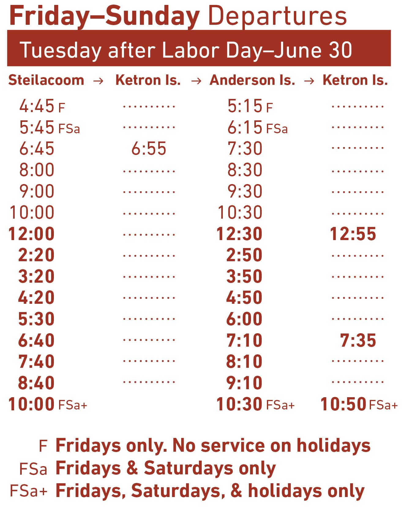 image of ferry schedule Friday-Sunday