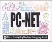 Pierce County Emergency Team logo  Houses, trees, community stores