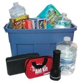 Image of large tub with emergency supplies in and around the tub