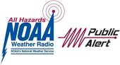 Logo for All Hazards NOAA Weather Radio, National Weather Service and the Public Alert Logo