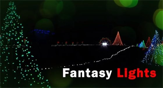 Christmas lights pictured at Spanaway Park - Text Fantasy Lights