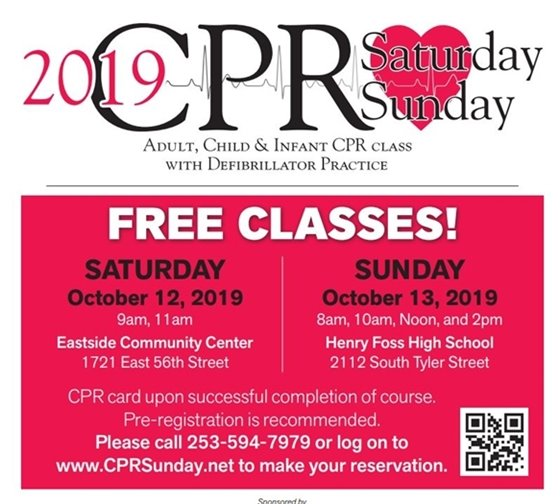 CPR Sunday poster; Satuarday October 12 and Sunday Oct 13. Select image for website link