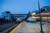 Sound Transit Sounder Train pulls into Lakewood Station