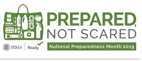National Preparedness Month LOGO and topics for the month.