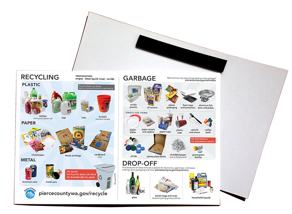 Image of the recycling and trash reminder magnet