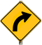Curve to the Right Arrow Yellow Sign Clip Art