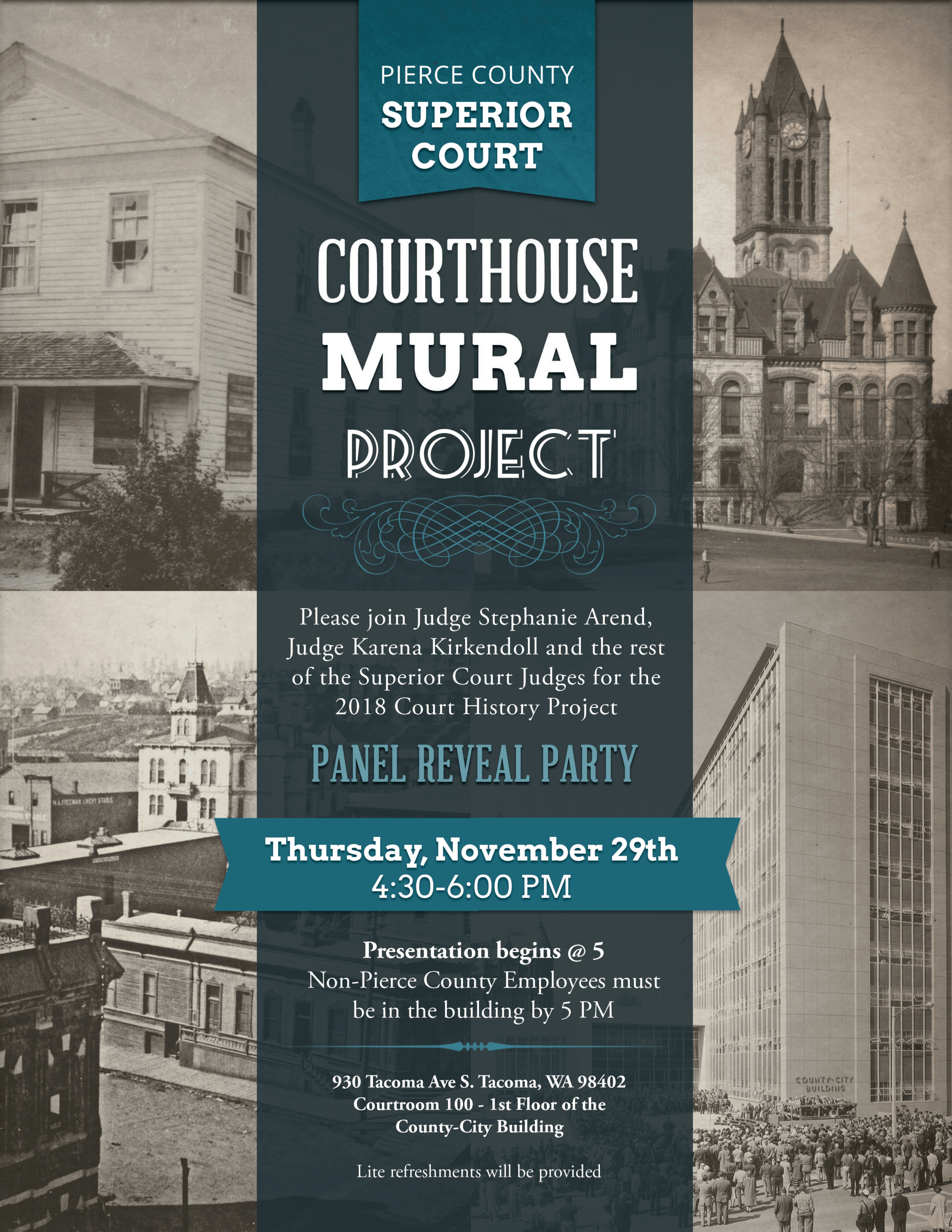 Pierce County Court History reveal party invite