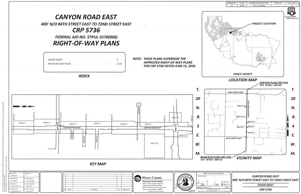 Image of the project right-of-way plan cover sheet.