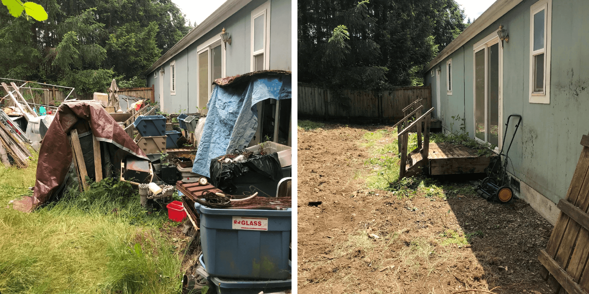 Before and after photo examples of code enforcement abatement