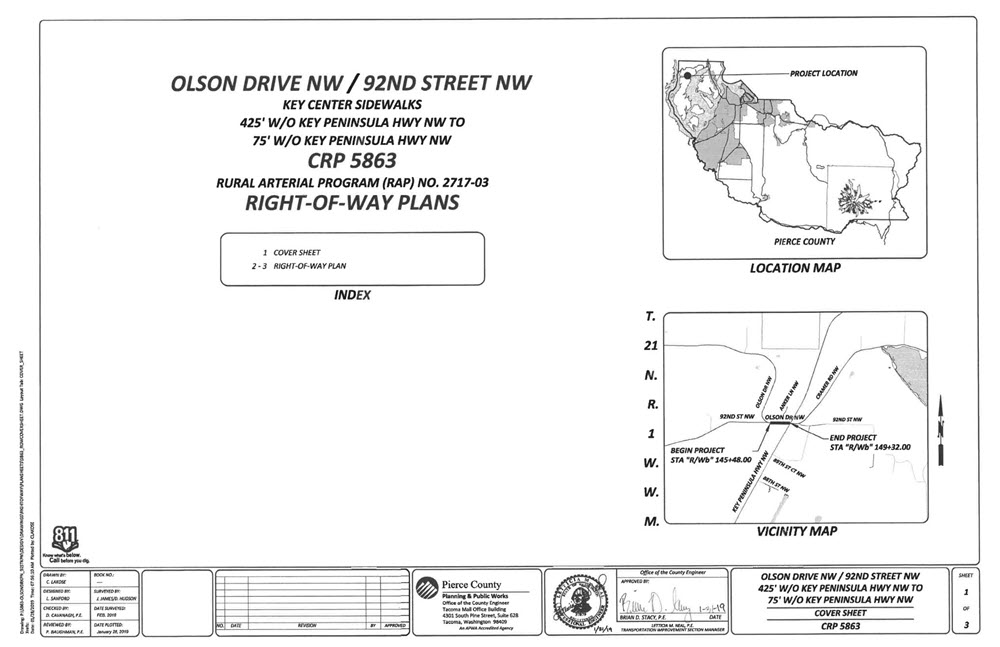 Image of the R/W Plan Cover Sheet.