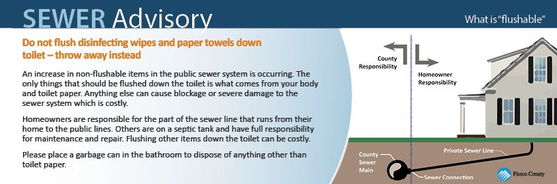 Do not flush disinfecting wipes and paper towels down toilet – throw away instead