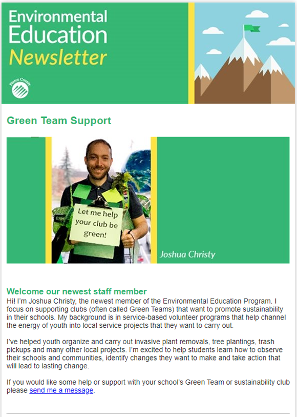screenshot of the enviroed newsletter
