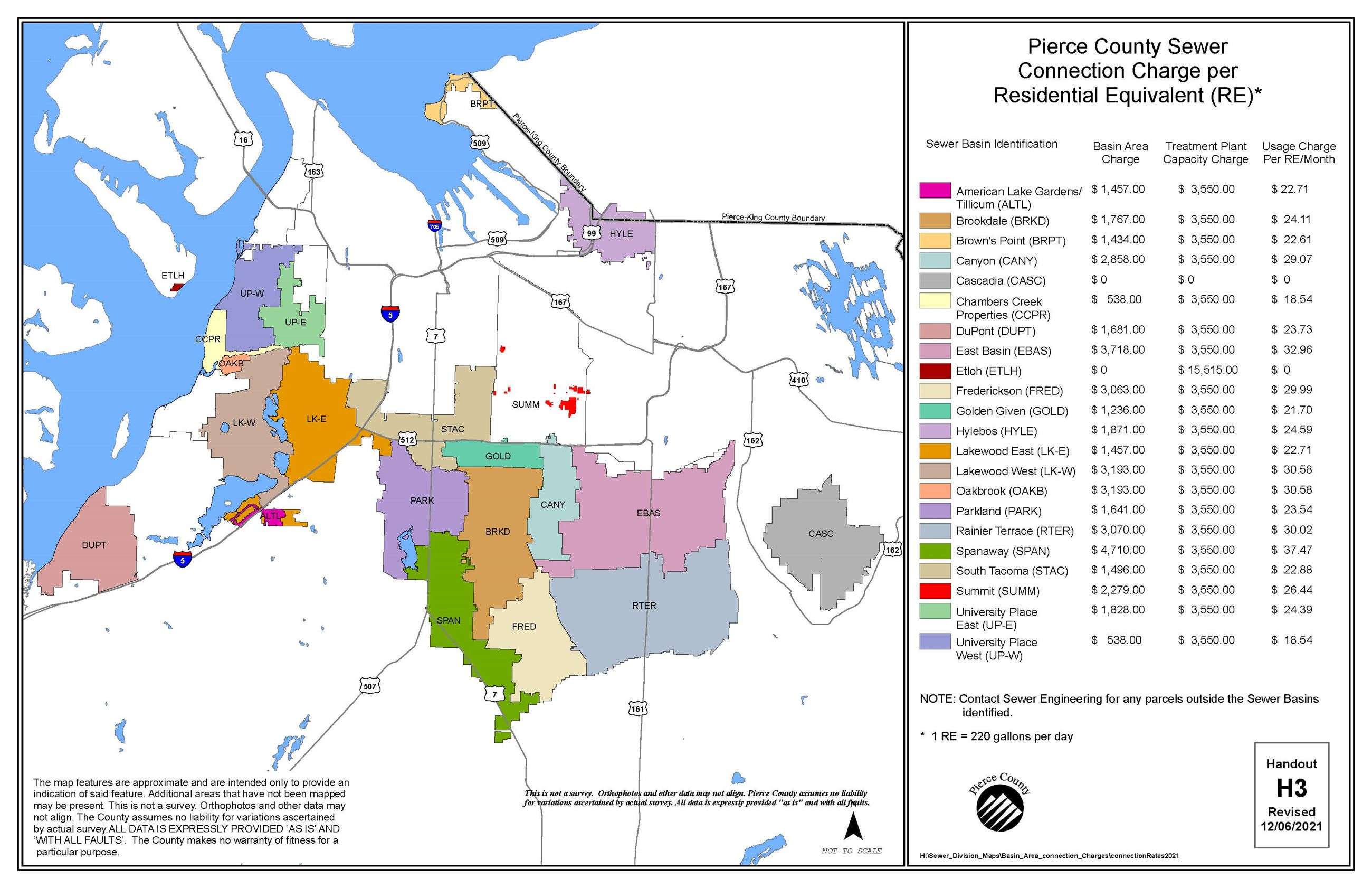 Map of Pierce County sewer connection charges per residential equivalent (RE)