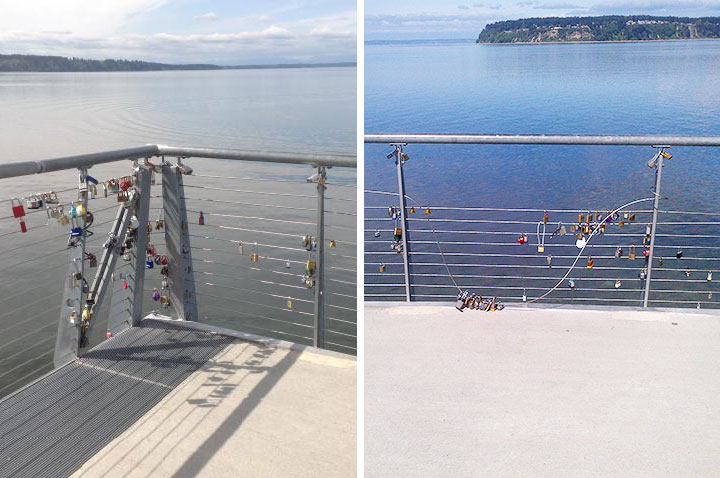 Before and after view of the bridge railing