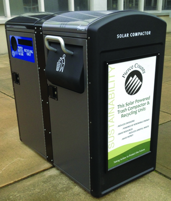 Image of solar trash can